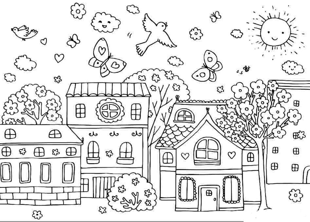 for Christmas town coloring pages